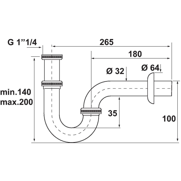 siphon de lavabo laiton chrom r glable 1 1 4 32 mm s lection cazabox cazabox. Black Bedroom Furniture Sets. Home Design Ideas