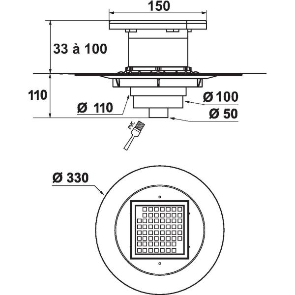 Siphon de douche carreler 150 x 150 mm sortie for Bache etancheite douche italienne