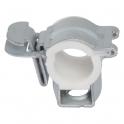 Collier isophonique à charnière zingué blanc simple - Tube Ø 12 - 10 mm - Vendu par 60 - Atlas Click - Plombelec