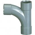 Pied de biche PVC gris réduit 87°30 - Ø 40 - 32 - 40 mm - Triple emboîture - Girpi