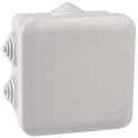 Boîte grise carrée - 80 mm - 7 embouts à gradins - Couvercle enclipsable - Plexo - Legrand