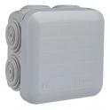 Boîte grise carrée - 65 mm - 7 embouts - Couvercle enclipsable - Plexo - Legrand