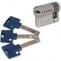 Demi cylindre varié nickelé - 32 x 10 mm - Interactive + - Mul-T-lock