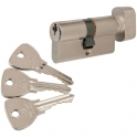 Cylindre à bouton varié nickelé - B31 x 31 mm - Alpha - Bricard