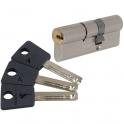 Cylindre 2 entrées varié nickelé - 33 x 33 mm - Sytème 7x7 - Mul-T-lock