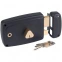 Serrure en applique noire droite à fouillot - Clé I - Axe à 60 mm - Match - JPM