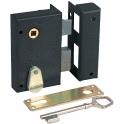 Serrure en applique noire droite à fouillot - Clé L - Axe à 45 mm - Benardes standard - JPM