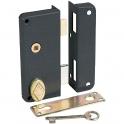 Serrure en applique noire droite à fouillot - Clé L - Axe à 40 mm - Extra-plate - JPM