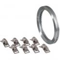 Collier à bande sans fin + 8 têtes W2 inox / acier zingué - 3 m - 8 mm - Cap Vert