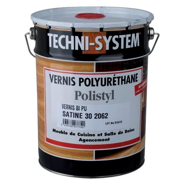 Vernis polyuréthane de finition satiné 30 - 5 L - Polistyl 2062 - Techni-System