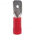 Cosse PVC rouge plate mâle isolé - Section 0,5 - 1,5 mm² - Vendu par 100 - Klauke