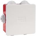 Boîte rouge/grise carrée - 80 mm - 6 embouts à gradins - Couvercle enclipsable - Gewiss