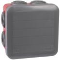 Boîte rouge/grise foncée carrée - 105 mm - 7 embouts - Couvercle enclipsable - Plexo - Legrand