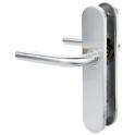 Poignée de porte sur plaque inox brossé - Bec de cane - Linox 491 - Vachette