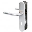 Poignée de porte sur plaque inox brossé - Clé L - Linox 491 - Vachette