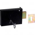 Serrure en applique noire droite Simple - Clé L - Axe à 65 mm - Série 461 - DOM