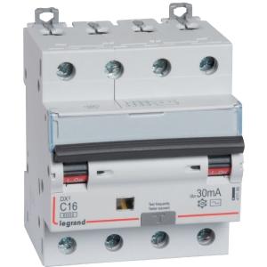 Disjoncteur monobloc DX³ 6000 - 10 kA courbe C - 25 A - Sensibilité 300 mA - 4 modules - Connexion auto / vis - Legrand