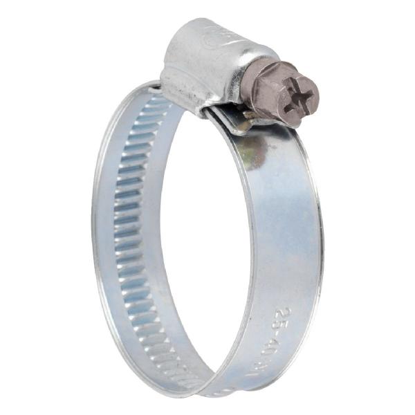 Collier bande non perforée W1 acier zingué blanc - 12 mm - Serrage 16 - 27 mm - Boîte de 25 pièces - Ace