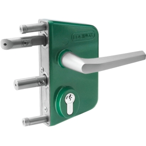 Serrure de portail en applique verte - Clé I - Axe à 30 mm - Profil 60 à 80 mm - LAKQ - Locinox