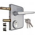 Serrure de portail en applique argent - Clé I - Axe à 30 mm - Profil 40 à 60 mm - LCKX - Locinox