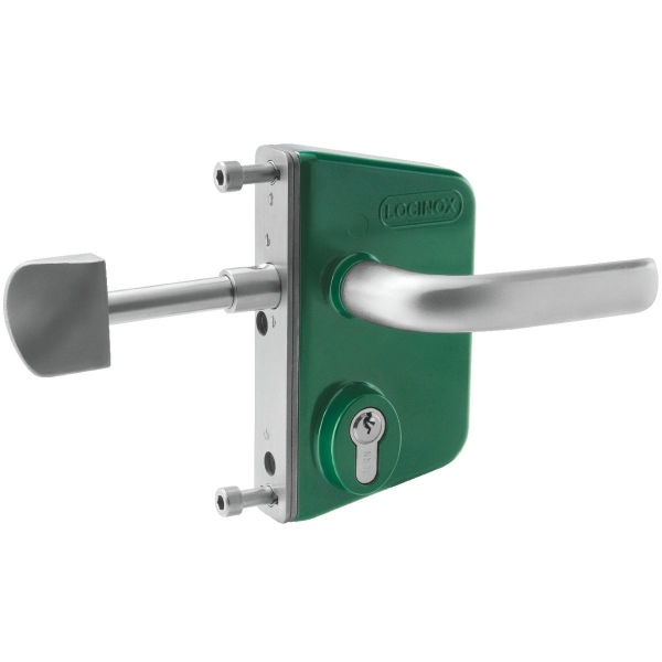 serrure de portail coulissant en applique verte cl i axe 30 mm profil 50 mm lskz. Black Bedroom Furniture Sets. Home Design Ideas