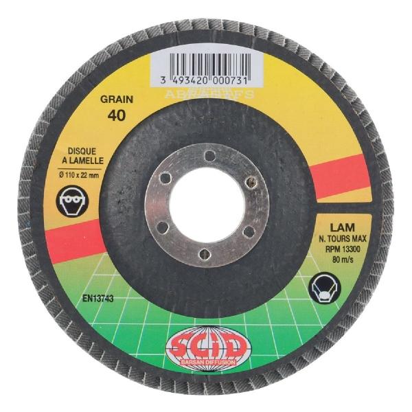 Disque à lamelles zirconium - Ø 125 mm - Grain 40 - SCID