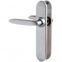 Poignée de porte sur plaque chrome velours - Bec de cane - 215 mm - Jazz - Vachette