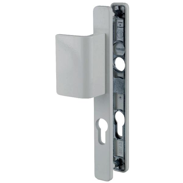 poign e de porte pali re blanche cl i entraxe 70 mm. Black Bedroom Furniture Sets. Home Design Ideas