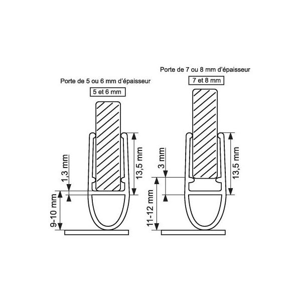 Baguette PVC joint tubulaire - Bas de porte de douche - 1 m - Geb - Cazabox
