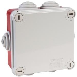 Boîte rouge/grise rectangulaire - 150 x 110 mm - 10 embouts à gradins - Couvercle vis 1/4 de tour - Gewiss