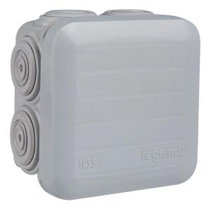 Boîte grise carrée - 80 mm - 7 embouts - Couvercle enclipsable - Plexo - Legrand