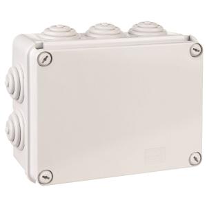 Boîte grise rectangulaire - 150 x 110 mm - 10 embouts - Couvercle vis 1/4 de tour - Gewiss