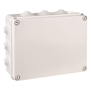Boîte grise rectangulaire - 240 x 190 mm - 12 embouts - Couvercle vis 1/4 de tour - Gewiss