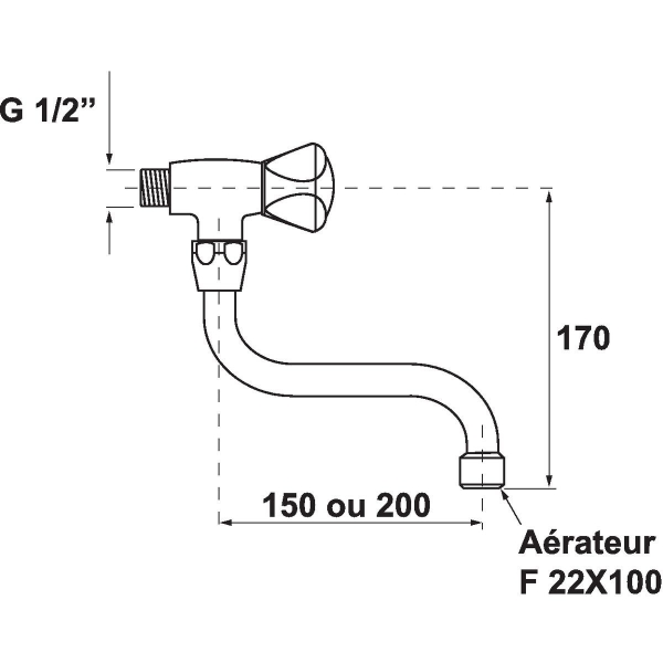 robinet d 39 vier bec 200 mm sandri cazabox. Black Bedroom Furniture Sets. Home Design Ideas