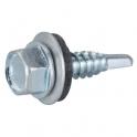 Vis tôle tête hexagonal - Ø 6,3 mm - 38 mm - Zingué blanc - Boîte de 100 pièces - Rifix