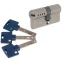 Cylindre 2 entrées varié nickelé - 65 x 31 mm - Interactive + - Mul-T-lock