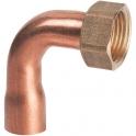 Douille cuivre coudé avec écrou à souder - F 3/8' - Ø 14 mm - Hecapo