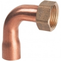 """Douille cuivre coudé avec écrou à souder - F 3/8"""" - Ø 14 mm - Hecapo"""