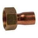 Douille cuivre réduite avec écrou à souder - F 3/8' - Ø 14 mm - Hecapo