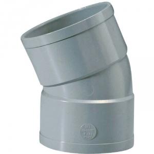 Raccord PVC gris coudé 22°30 - Ø 125 mm - Double emboîture - Girpi