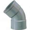 Raccord PVC gris coudé 45° - Ø 50 mm - Double emboîture - Girpi