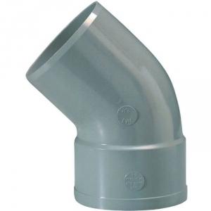 Raccord PVC gris coudé 45° - Ø 125 mm - Simple emboîture - Girpi