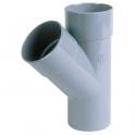 Culotte PVC gris 45° - Ø 100 mm - Double emboîture - Nicoll