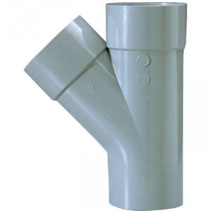 Culotte PVC gris 45° - Ø 100 mm - Double emboîture - Girpi