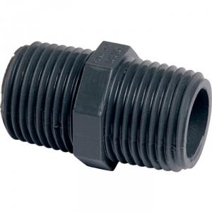 """Raccord PVC pression noir droit - M 1""""1/4 - Girpi"""