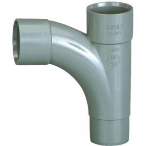 Pied de biche PVC gris 87°30 - Ø 50 mm - Double emboîture - Girpi
