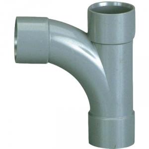 Pied de biche PVC gris réduit 87°30 - Ø 50 - 40 - 50 mm - Triple emboîture - Girpi