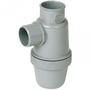 Siphon de parcours PVC gris vertical - Mâle / femelle - Ø 40 mm - Nicoll