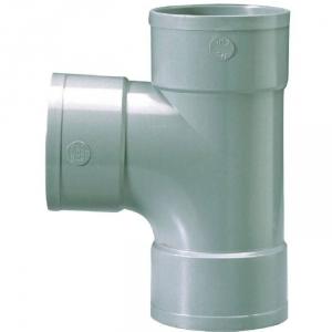 Raccord PVC gris en T - Femelle - Ø 100 mm - Triple emboîtage - Girpi