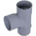 Pied de biche PVC gris 87°30 - Ø 100 mm - Double emboîture - Nicoll